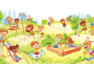 公園で楽しそうに遊ぶ子ども達
